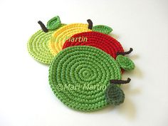 Apple Crochet Coasters Mix Green Red Yellow . Gifts for Teachers Drink Leaves Healthy Vegan Decor Crochet Fruit Collection