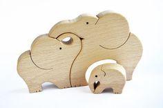 Elephants Family  Wooden Puzzle  Handcut Wooden by WoodAndYarnToys
