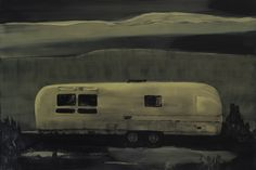 Michael Newton, Golden Slumbers, Oil on Canvas and Wood. Caravan Painting