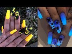🌈 Trendy Instagram NAIL ART Compilation - YouTube Glitter Toe Nails, Matte Acrylic Nails, Cute Toe Nails, Simple Acrylic Nails, Summer Acrylic Nails, Simple Nails, 3d Nail Art, Trendy Nail Art, Simple Nail Art Designs