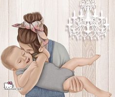Mother Daughter Art, Mother Art, Mom Son, Mother And Child, Baby Kind, Mom And Baby, Baby Love, Sarra Art, Girly M