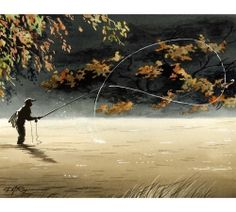 Fly Fishing Art Print ROLL WITH IT