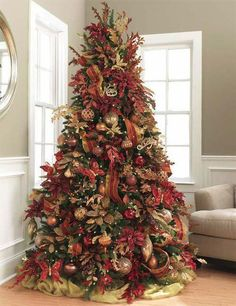 christmas tree in shades of cinnamon and rust