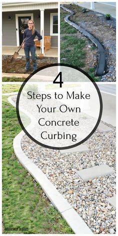 Follow these four simple steps to create your own DIY concrete landscape edging for your garden or around your home. Dress up your standard landscape with a nice concrete edge. This tutorial makes it easy and it's cheaper than buying edging stones!