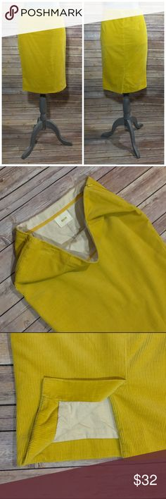"""Anthropologie Maeve Wale Mustard Corduroy Skirt Lined; Side zip closure; Back slit; Length: 22.5""""; Maeve by Anthropologie. Condition: Excellent- lightly worn. Anthropologie Skirts"""