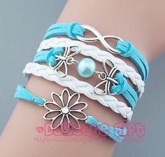 Flower bracelet Double butterfly bracelet Infinity bracelet Mint pearl bracelet Silver charm White leather Mint rope Flower girl Sister gift by DelicateGift, $5.99