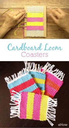 Weaving - Remember making cardboard looms as a kid Recreate them and weave yourself coasters! Get the kids involved and they will love to show it off and use them every chance they get! Yarn Crafts For Kids, Crafts To Sell, Easy Crafts, Creative Crafts, Diy Crafts With Yarn, Preschool Crafts, Fabric Crafts, Sewing Crafts, Paper Crafts