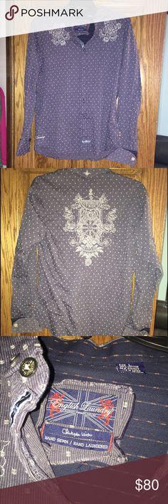English Laundry Men's shirt size Large English Laundry Men's shirt size Large, navy blue jean color, cuff link style, like new condition English Laundry Shirts Casual Button Down Shirts