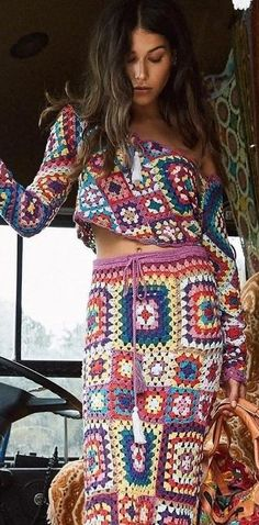 Multi Carnaby Crochet Off The Shoulder Set Source