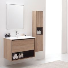 Sonoma Khaki Wood Bathroom Vanity Set with White Stone Top | Zuri Furniture #ZuriFurniture