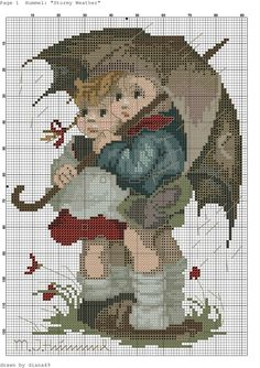 """Stormy Weather"" / ""In The Rain"" - Hummel cross stitch, pattern"
