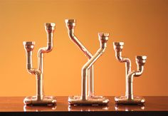 Industrial Copper Candlestick Candle Holder by McGdesign on Etsy, $66,00