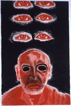 Francesco Clemente ~ Self-Portrait in White, Red and Black VI, 2008 (pastel)