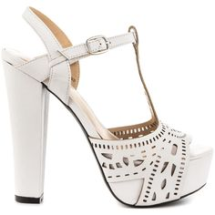 Mojo Moxy Women's Daydream - White (€80) via Polyvore featuring shoes, white, white cut out shoes, high heel shoes, white shoes, platform shoes e t bar shoes