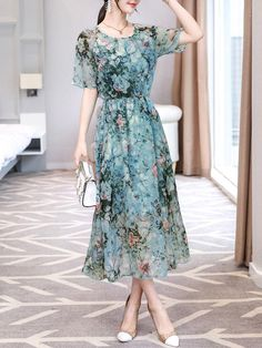 Floral Printed Hollow Out Round Neck Chiffon Maxi Dress Trendy Dresses, Simple Dresses, Beautiful Dresses, Nice Dresses, Casual Dresses, Dresses With Sleeves, Summer Dresses, Modest Fashion, Hijab Fashion