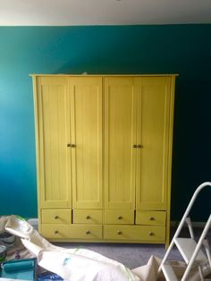Bedroom- in progress Annie Slone, English Yellow chalk paint Wardrobe- Argos with replaced handmade handles Walls - Farrow & Ball, Vardo matt paint Chalk Paint Wardrobe, Painted Wardrobe, Blue Rooms, Blue Bedroom, Bedroom Colors, Farrow And Ball Bedroom, Painted Night Stands, Wardrobe Furniture, Design Your Home