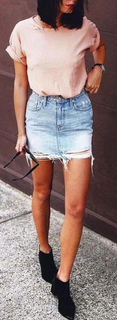 #summer #revolve #clothing #outfits   Pink Tee + Ripped Mini Skirt