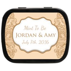 Elegant Beige Personalized Wedding Mint Tins for a vintage wedding theme #favoridea #weddingfavors