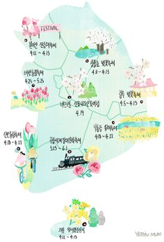 spring flower festival map, spring, flower, cherry blossoms, tulip, azalea, rape flower, south korea flower festival map