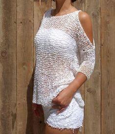 Knitting Pattern - Foam Top/Loose Knit Beach Cover Up/ Open Shoulder Summer Sweater/Oversized CottonTank Top