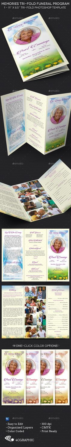 Memories Tri-fold Funeral Program Template - The Memories Tri-fold Funeral Program Template is for a modern commemorative or home going service. The cloud and spring Yellow Flower photo with decorative pattern background is perfect for many other occasions like weddings, anniversaries, baby showers etc.