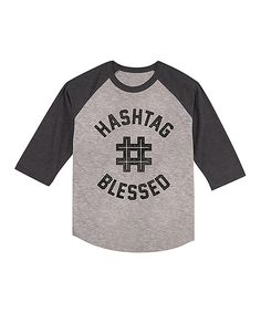 Heather Smoke 'Hashtag Blessed' Raglan Tee - Toddler & Boys