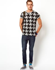 ASOS T-Shirt With All Over Dogtooth Print