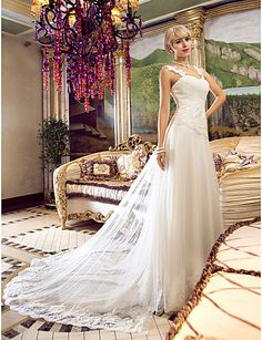 A-Line Off Shoulder Floor Length Tulle Custom Wedding Dresses with Beading Appliques Criss-Cross by LAN TING BRIDE®