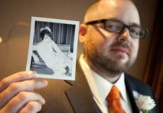 Have the groom hold the brides photo instead have monica hold a pic of herself as a baby