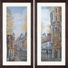HHK1256 Silent street. Thread and bead embroidery kits #nova_sloboda #embroidery #handmade #cross_stitch #landscape #town