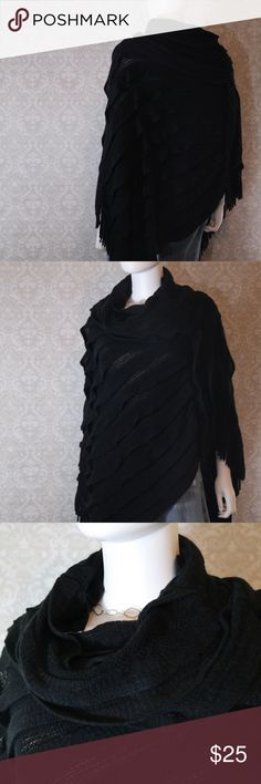 Soft Black Sweater Poncho Sz S Like new condition.  Worn once super soft  black sweater poncho.  Perfect with a skirt and top.  Warm and stylish.  Size S but would easily fit medium.  Bundle your likes for my best offer.  Thank you for shopping my closet!  :0) (F) Calessa Accessories Scarves & Wraps