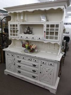 SOLD -Shabby white 9 drawer cottage hutch & sideboard - painted & heavily distressed - lots of storage!  ***** In Booth H12 at Main Street Antique Mall 7260 E Main St (east of Power RD on MAIN STREET) Mesa Az 85207 **** Open 7 days a week 10:00AM-5:30PM **** Call for more information 480 924 1122 **** We Accept cash, debit, VISA,