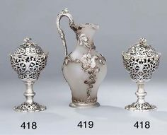 A Victorian silver-mounted glass claret-jug Charles Fox, Vase Shapes, Acanthus, Victorian, Pairs, Glass, Silver, London, Drinkware