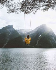 Swinging with a view ✨ Who ever had the idea to place a swing in front of these beautiful fjords was a genius. Such a beautiful summer… Swing Photography, Teen Girl Photography, Travel Pose, Travel Photos, Solo Travel, Nature Photos, Beautiful Landscapes, Beautiful Places, Places To Visit