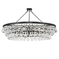 Large Chandelier with Convertible Double Canopy.  Available in Deep Patina Bronze Finish or Polished Nickel Finish w/ Glass Drops  Susp. Hardware: 3 Ft. Chain