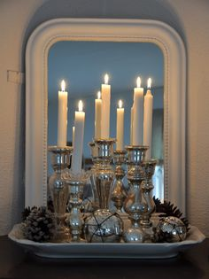 HWIT BLOG - Mercury Glass Candlescaping - Perfect to put on my Longaberger Handled Platter