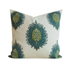 Duralee Pillow Cover - Abbey Road Aqua Green Pillow - SAME Fabric BOTH SIDES - Invisible Zipper. $40.00, via Etsy.