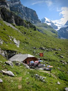 Kandersteg, Switzerland  We had our lunch here and the very friendly owner encouraged us to continue on to do  The Alpine hike.     Strenuous but rewarding!