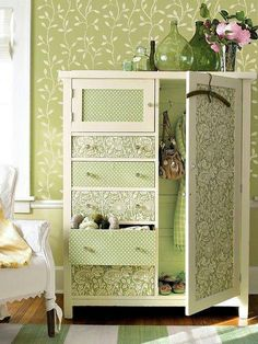 Shabby-chic, antique wardrobe...but maybe with different fabrics?