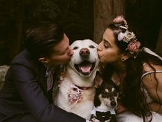 Cute wedding dog photo idea - couple poses with pets {Natasha Shapiro Photography} photos with dogs Melba and Aimee's Wedding in Cold Spring, New York Wedding Picture Poses, Wedding Poses, Wedding Couples, Wedding Pictures, Wedding Ideas, Lesbian Wedding, Wedding Photoshoot, Wedding Portraits, Wedding Dresses