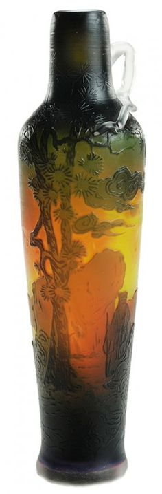 Muller Freres Cameo Glass Vase. www.liveauctioneers.com