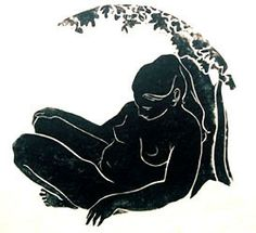 """""""Persephone II"""" by Lila Oliver Asher, linocut, 18.5 in diameter"""