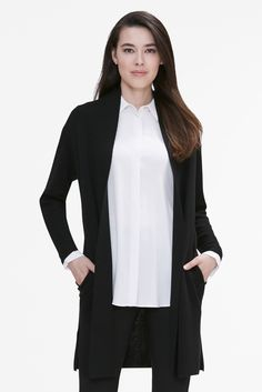 No matter where you're going, this easy, thigh-skimming cardigan is down for the ride. Made from our breathable, all-season merino wool (which comes from happy, free-range Australian sheep). Australian Sheep, Long Flights, Black Cardigan, Merino Wool, Thighs, Duster Coat, At Least, Style Inspiration, Blazer