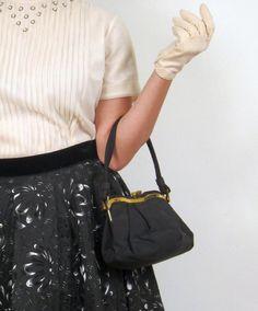 Vintage 1940s Black Handbag with Brass Hinged by BasyaBerkman, $36.00