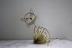 vintage. wire. metal. cat. kitten. letter holder. correspondence. desk. decor.. $22.00, via Etsy.