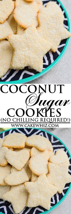 Easy COCONUT SUGAR COOKIES recipe that requires no chilling. These cut out sugar cookies are crispy and packed with coconut flakes. They don't spread and hold their shape. From cakewhiz.com