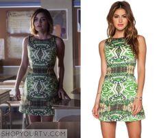 Pretty Little Liars: Season 6 Episode 10 Aria's Green Printed Dress