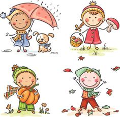 Buy Little Kids Autumn Activities by katya_dav on GraphicRiver. Happy little kids' autumn activities Art Drawings For Kids, Drawing For Kids, Cartoon Drawings, Easy Drawings, Art For Kids, Kids Vector, Vector Art, Autumn Activities, Preschool Activities