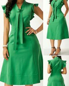 High Waist Tie Neck Green Pocket Dress - Her Crochet High Tea Dress, African Wear Dresses, Lace Dress Styles, Buy Dresses Online, Dress Outfits, Sexy Dresses, African Print Fashion, Classy Dress, Look Fashion