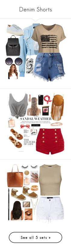 """""""Denim Shorts"""" by tiah0212 ❤ liked on Polyvore featuring Balmain, Marc Fisher LTD, Alice + Olivia, Pierre Balmain, WithChic, Street Level, Estée Lauder, Yves Saint Laurent, Bling Jewelry and Felony Case"""